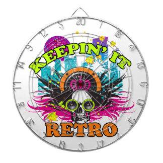 Keepin It Retro Neon Disco Crown Skull Dartboard