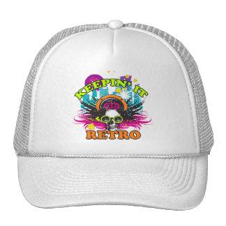 Keepin It Retro Neon Disco Crown Skull Hats