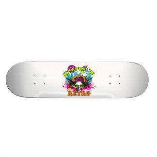 Keepin It Retro Neon Disco Crown Skull Skateboard Deck