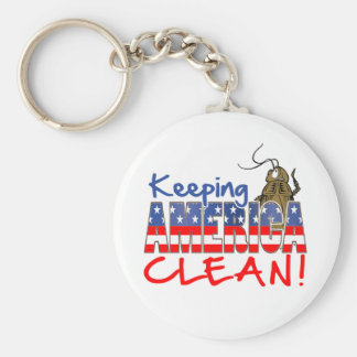 KEEPING AMERICA CLEAN BASIC ROUND BUTTON KEYCHAIN