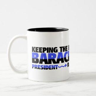 KEEPING THE FAITH IN BARAK OBAMA Two-Tone COFFEE MUG