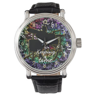 Keeping Time Drummer and Music Notes Watch