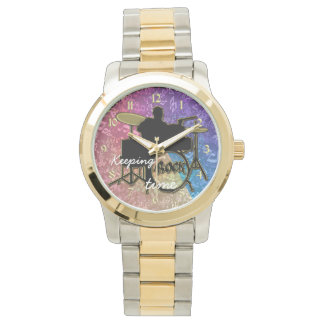 Keeping Time Drummer and Rainbow Music Notes Watch