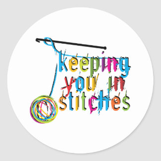 keeping you in stitches-crochet classic round sticker