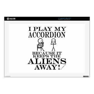 "Keeps Aliens Away Accordion Skins For 17"" Laptops"