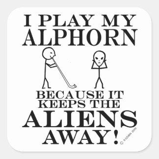 Keeps Aliens Away Alphorn Square Sticker