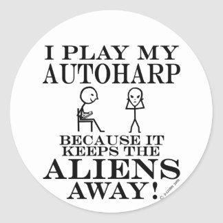 Keeps Aliens Away Autoharp Classic Round Sticker