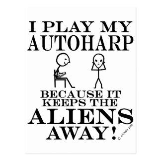 Keeps Aliens Away Autoharp Postcard