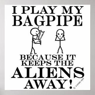 Keeps Aliens Away Bagpipe Poster