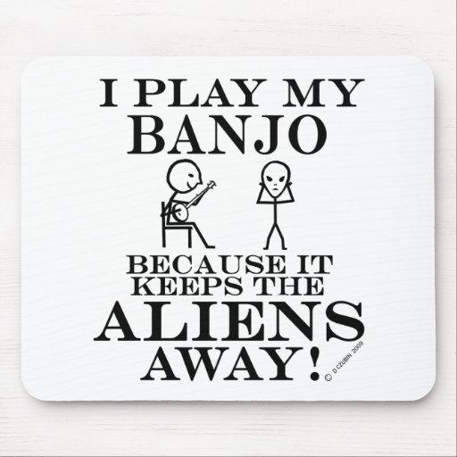 Keeps Aliens Away Banjo Mouse Pad