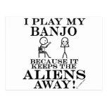 Keeps Aliens Away Banjo Postcard