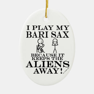 Keeps Aliens Away Bari Sax Ceramic Ornament