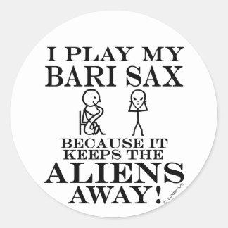 Keeps Aliens Away Bari Sax Round Sticker