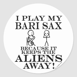 Keeps Aliens Away Bari Sax Classic Round Sticker