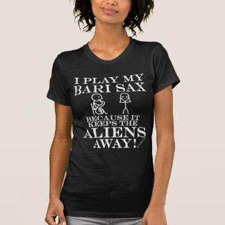 Keeps Aliens Away Bari Sax Tshirt