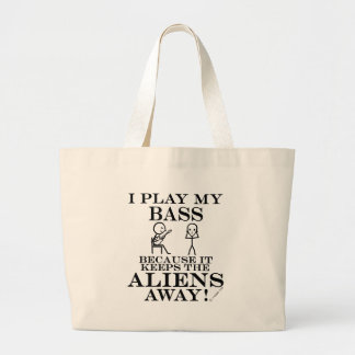 Keeps Aliens Away Bass Large Tote Bag