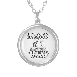 Keeps Aliens Away Bassoon Round Pendant Necklace