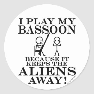 Keeps Aliens Away Bassoon Classic Round Sticker
