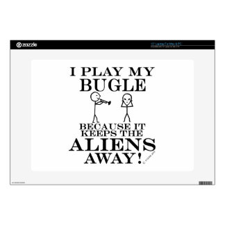 "Keeps Aliens Away Bugle 15"" Laptop Skins"
