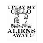 Keeps Aliens Away Cello Postcard
