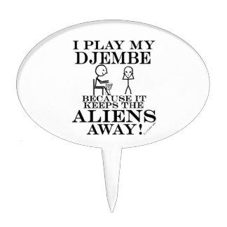 Keeps Aliens Away Djembe Cake Topper