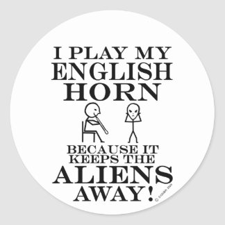 Keeps Aliens Away English Horn Classic Round Sticker