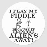 Keeps Aliens Away Fiddle Classic Round Sticker