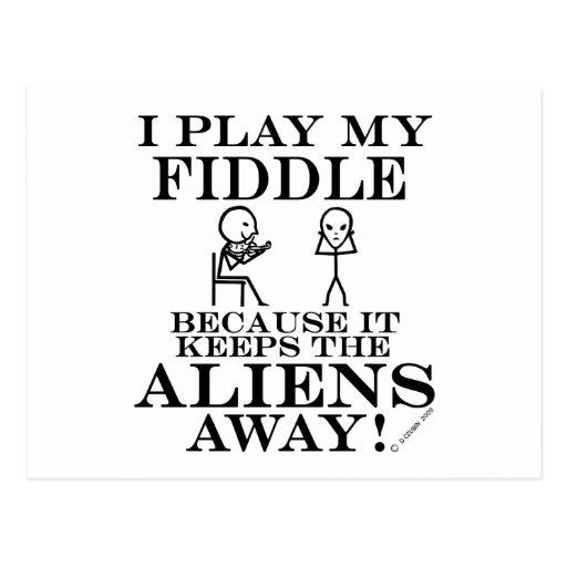 Keeps Aliens Away Fiddle Postcard