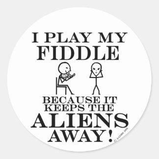 Keeps Aliens Away Fiddle Round Sticker