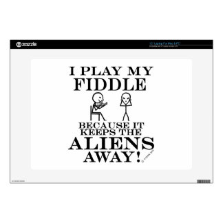 "Keeps Aliens Away Fiddle 15"" Laptop Decals"