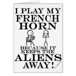 Keeps Aliens Away French Horn Greeting Cards