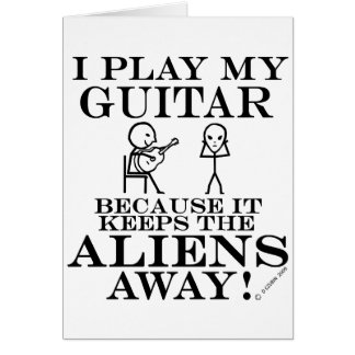 Keeps Aliens Away Guitar Card
