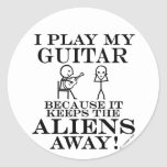Keeps Aliens Away Guitar Classic Round Sticker