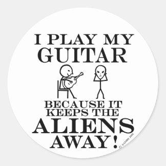 Keeps Aliens Away Guitar Classic Round Sticker