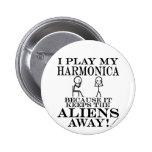 Keeps Aliens Away Harmonica 2 Inch Round Button