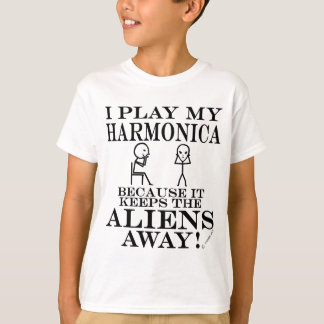 Keeps Aliens Away Harmonica T-Shirt