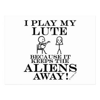 Keeps Aliens Away Lute Postcard