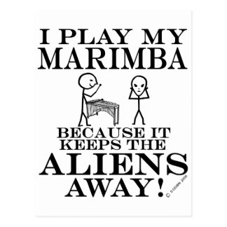 Keeps Aliens Away Marimba Postcard