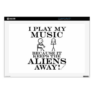 Keeps Aliens Away Music Laptop Skins