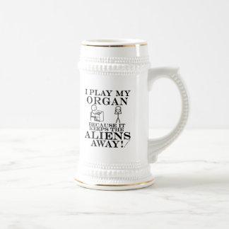 Keeps Aliens Away Organ Beer Stein