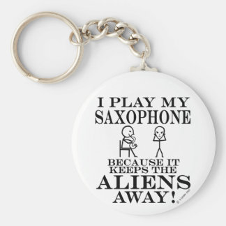 Keeps Aliens Away Saxophone Keychain