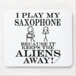 Keeps Aliens Away Saxophone Mouse Pad