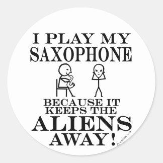 Keeps Aliens Away Saxophone Round Stickers