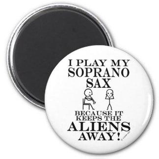 Keeps Aliens Away Soprano Sax Fridge Magnet
