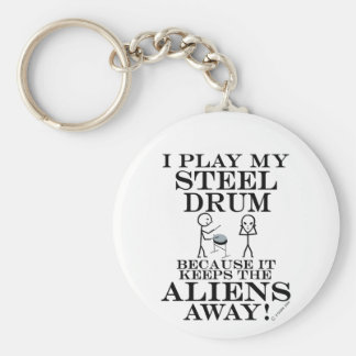 Keeps Aliens Away Steel Drum Keychain