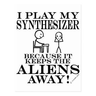 Keeps Aliens Away Synthesizer Postcard