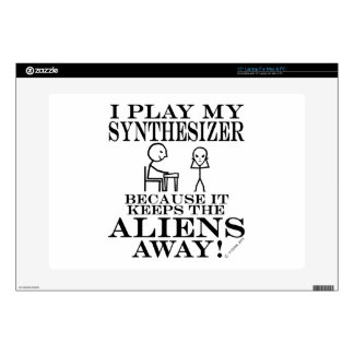 "Keeps Aliens Away Synthesizer 15"" Laptop Decals"