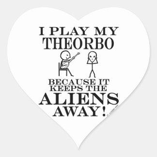 Keeps Aliens Away Theorbo Heart Stickers