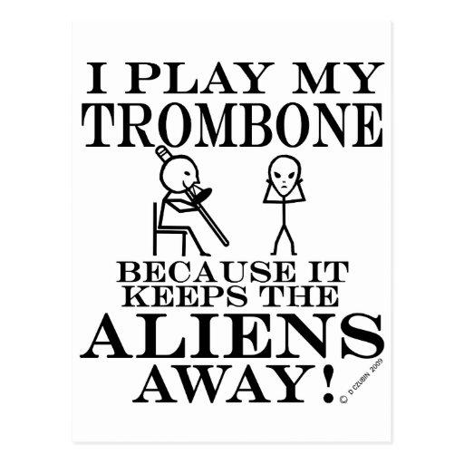 Keeps Aliens Away Trombone Postcard