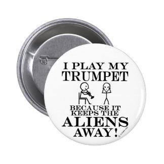 Keeps Aliens Away Trumpet Pinback Button